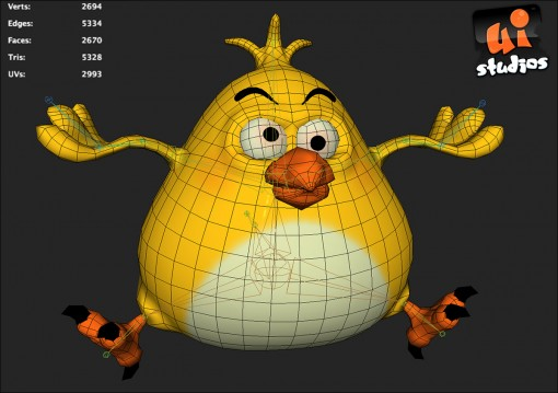 Fat Bird Low Poly Game Model
